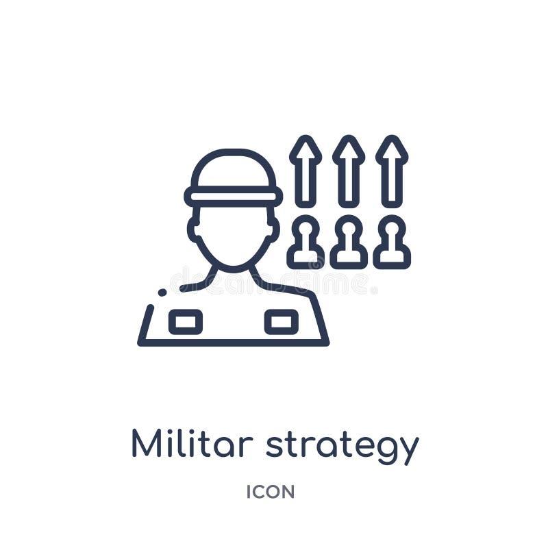 Линейный militar значок стратегии от собрания плана армии Тонкая линия militar вектор стратегии изолированный на белой предпосылк иллюстрация штока
