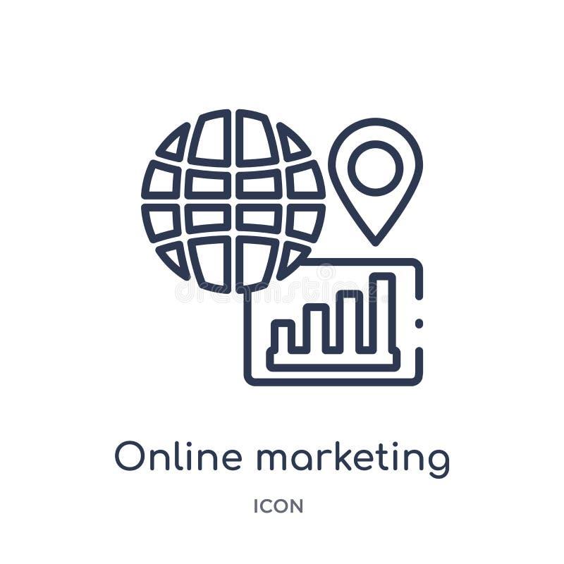Линейный онлайн выходя на рынок значок от выходя на рынок собрания плана Тонкая линия онлайн выходя на рынок значок изолированный иллюстрация вектора