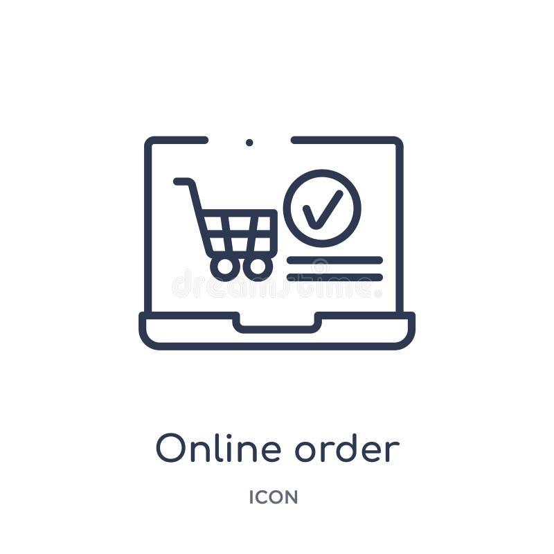 Линейный онлайн значок заказа от собрания плана Ecommerce и оплаты Тонкая линия онлайн вектор заказа изолированный на белой предп иллюстрация вектора