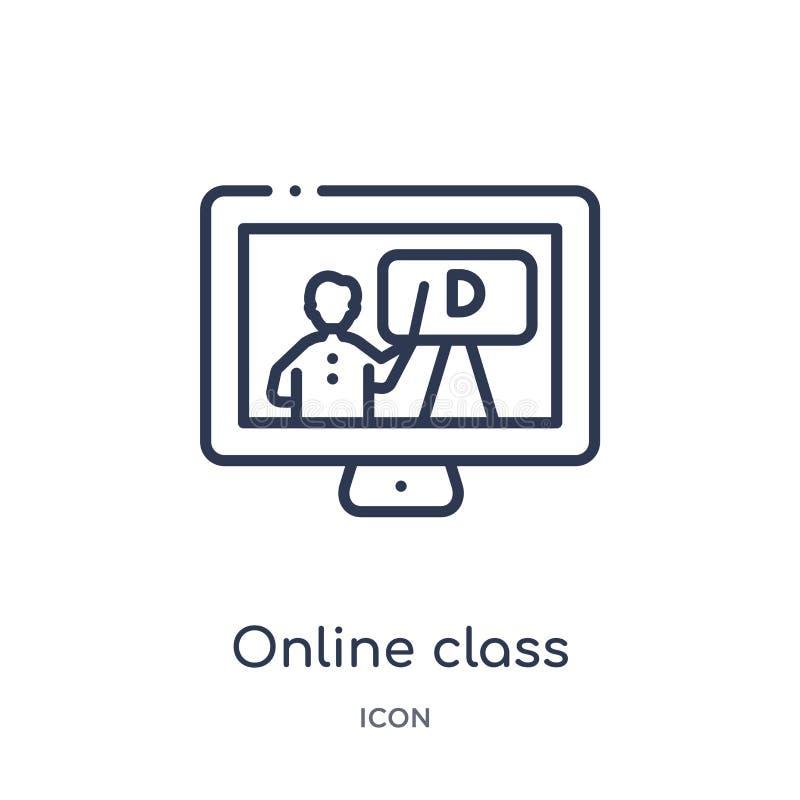 Линейный онлайн значок класса от собрания плана образования Тонкая линия онлайн вектор класса изолированный на белой предпосылке  иллюстрация вектора