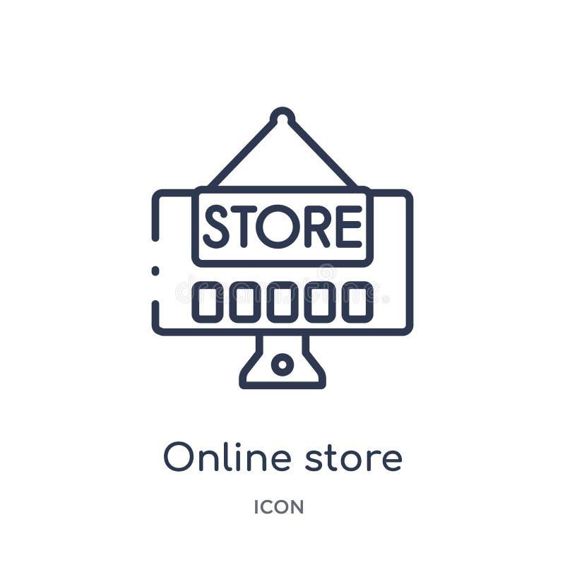 Линейный онлайн значок магазина от выходя на рынок собрания плана Тонкая линия онлайн значок магазина изолированный на белой пред иллюстрация вектора