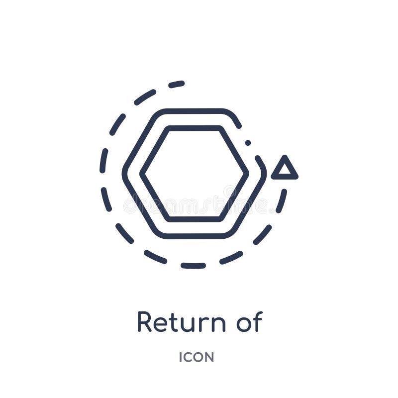Линейное возвращение значка вклада от собрания плана дела Тонкая линия возвращение значка вклада изолированное на белизне иллюстрация вектора