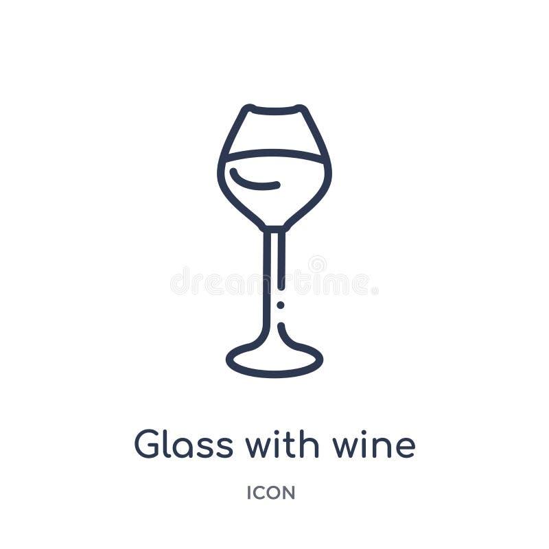 Линейное стекло со значком вина от собрания плана напитков Тонкая линия стекло с вектором вина изолированное на белой предпосылке иллюстрация вектора