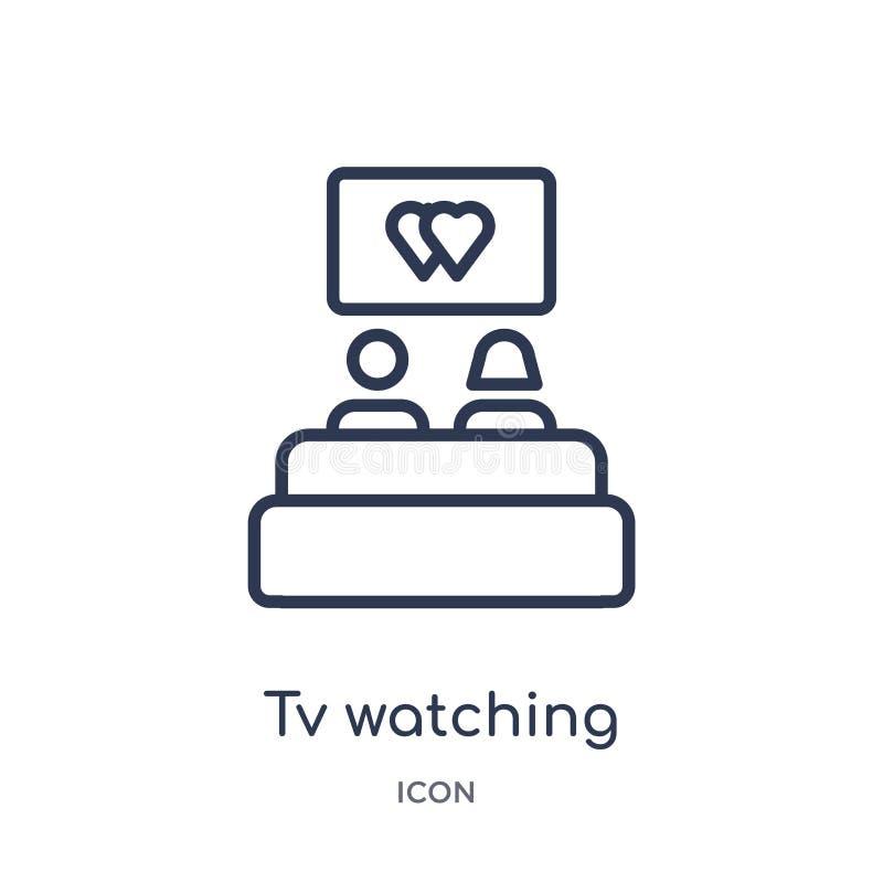 Линейное ТВ смотря значок от собрания плана дня рождения Тонкая линия ТВ смотря вектор изолированный на белой предпосылке ТВ иллюстрация штока