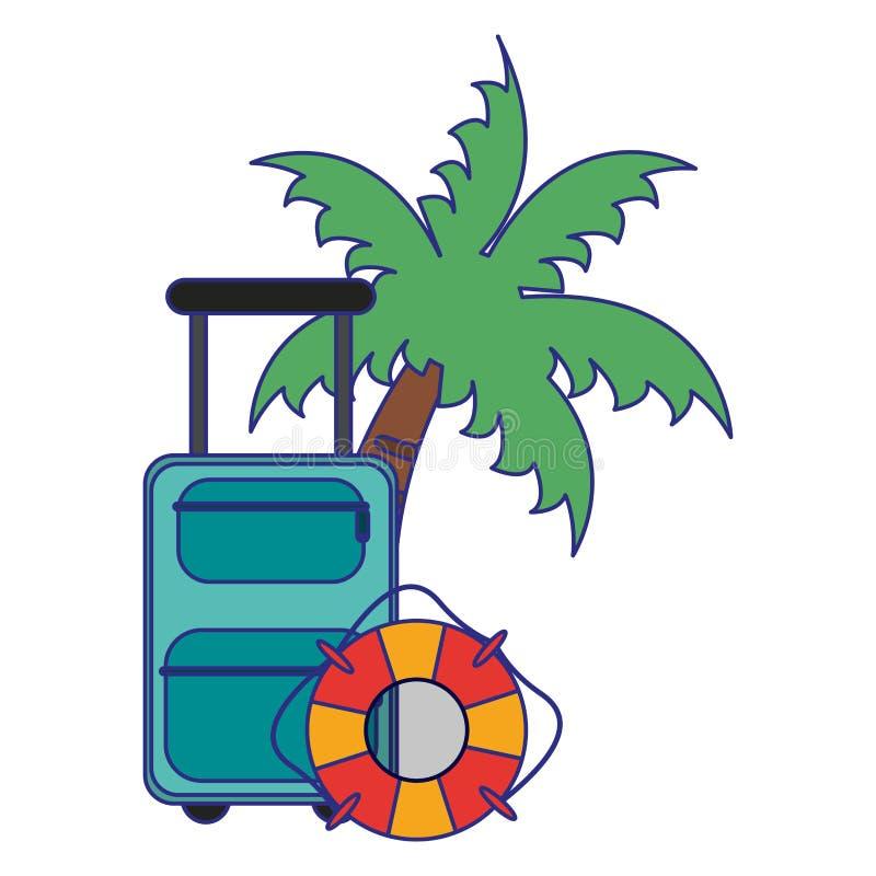 Линии перемещения и летних каникулов голубые иллюстрация штока