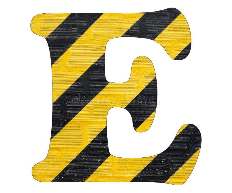 Линии письма e - желтые и черные Белая предпосылка стоковое изображение rf