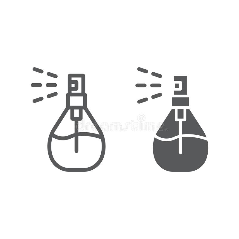 Линия брызг Кёльна и значок глифа, дезодорант и благоухание, знак духов, векторные графики, линейная картина на белом иллюстрация вектора