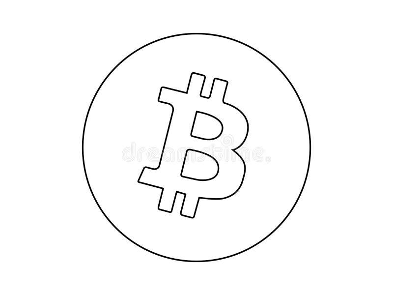 Линия вектор логотипа Bitcoin чертежа иллюстрация штока