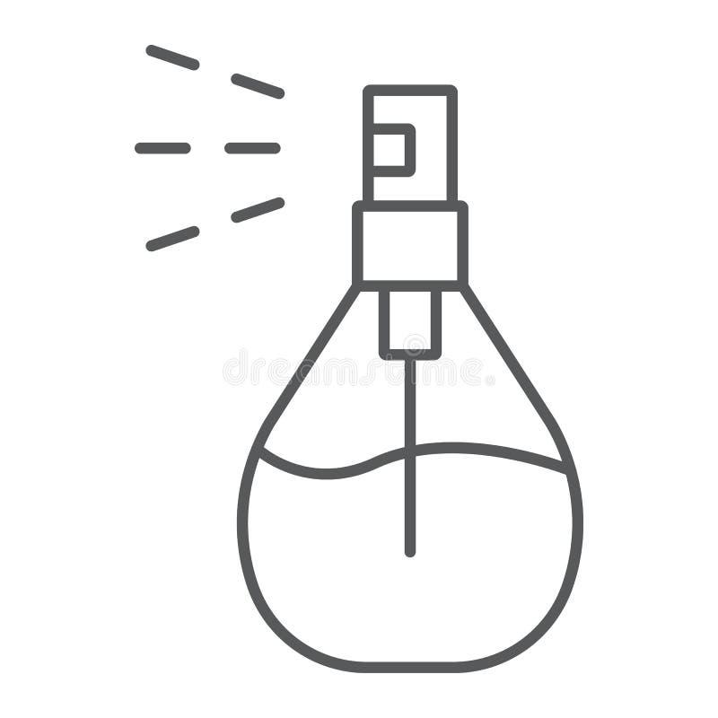Линия значок брызг Кёльна тонкая, дезодорант и благоухание, знак духов, векторные графики, линейная картина на белом иллюстрация вектора