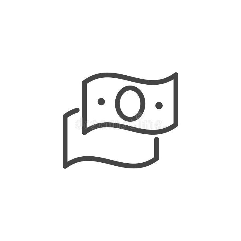 Линия значок доллара Банкнота международной валюты Символ денег Приобретение, банк, обмен, знак сделки финансов иллюстрация вектора