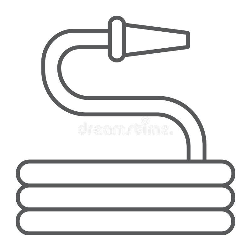 Линия значок шланга сада тонкая, инструмент и полив, знак спринклера, векторные графики, линейная картина на белой предпосылке иллюстрация штока