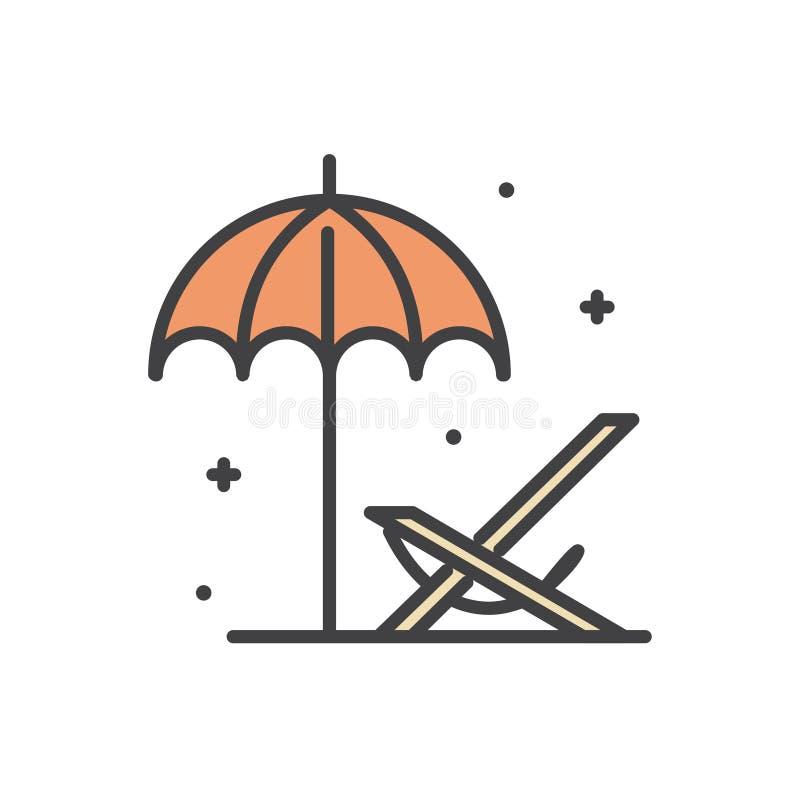 Линия значок deckchair пляжа на белой предпосылке для графика и веб-дизайна, современного простого знака вектора интернет принцип бесплатная иллюстрация