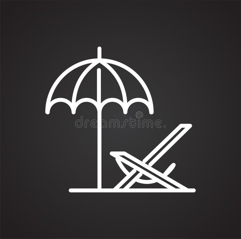 Линия значок deckchair пляжа на черной предпосылке для графика и веб-дизайна, современного простого знака вектора интернет принци иллюстрация вектора