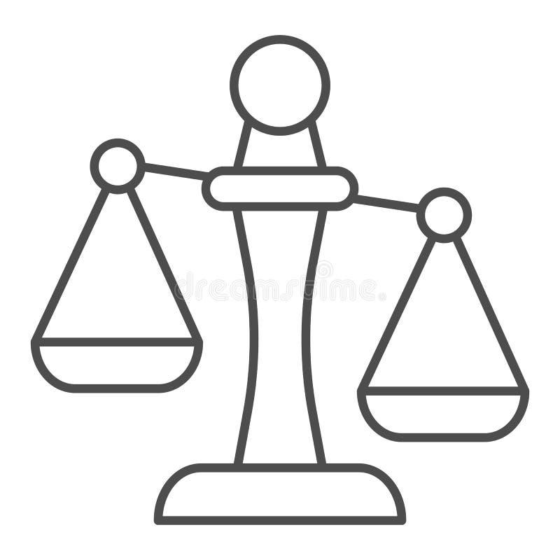 Линия значок Libra тонкая Иллюстрация вектора масштабов изолированная на белизне Дизайн стиля плана веса, конструированный для се иллюстрация вектора