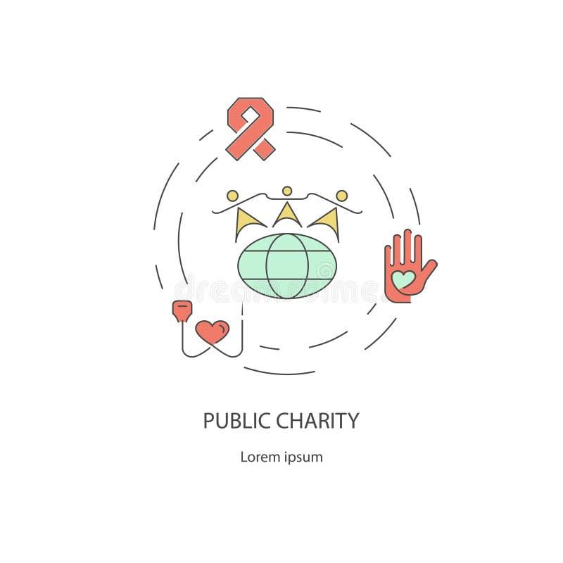 Линия идея проекта призрения и пожертвования вне бесплатная иллюстрация