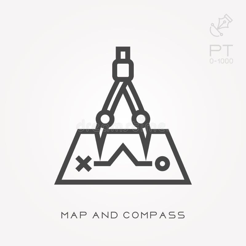 Линия карта и компас значка иллюстрация штока