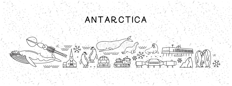 Линия карта перемещения мира Антарктики значков Плакат перемещения с животными и осмотр достопримечательностей привлекательностям бесплатная иллюстрация
