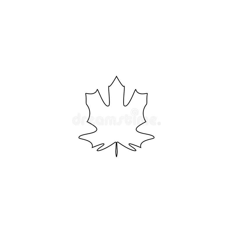 Линия кленового листа осени изолировала символ природы, силуэт на белой предпосылке также вектор иллюстрации притяжки corel иллюстрация штока