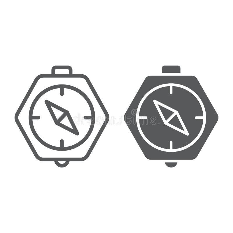 Линия компаса и значок глифа, землеведение и направление, знак навигации, векторные графики, линейная картина на белом иллюстрация вектора