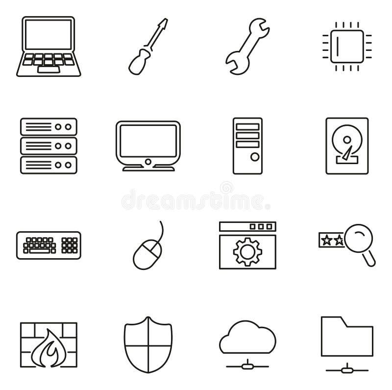 Линия набор значков ремонта или компьютерного обслуживания компьютера тонкая иллюстрации вектора бесплатная иллюстрация