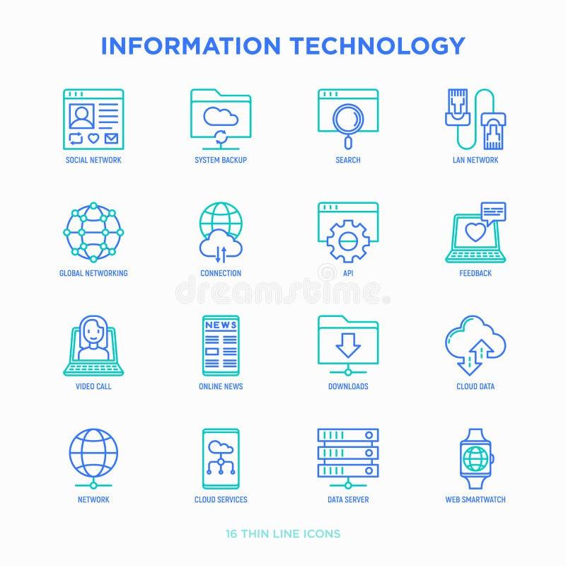 Линия набор информационной технологии тонкая значков бесплатная иллюстрация