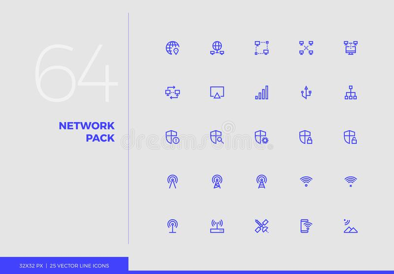 Линия пакет вектора сети значков иллюстрация штока