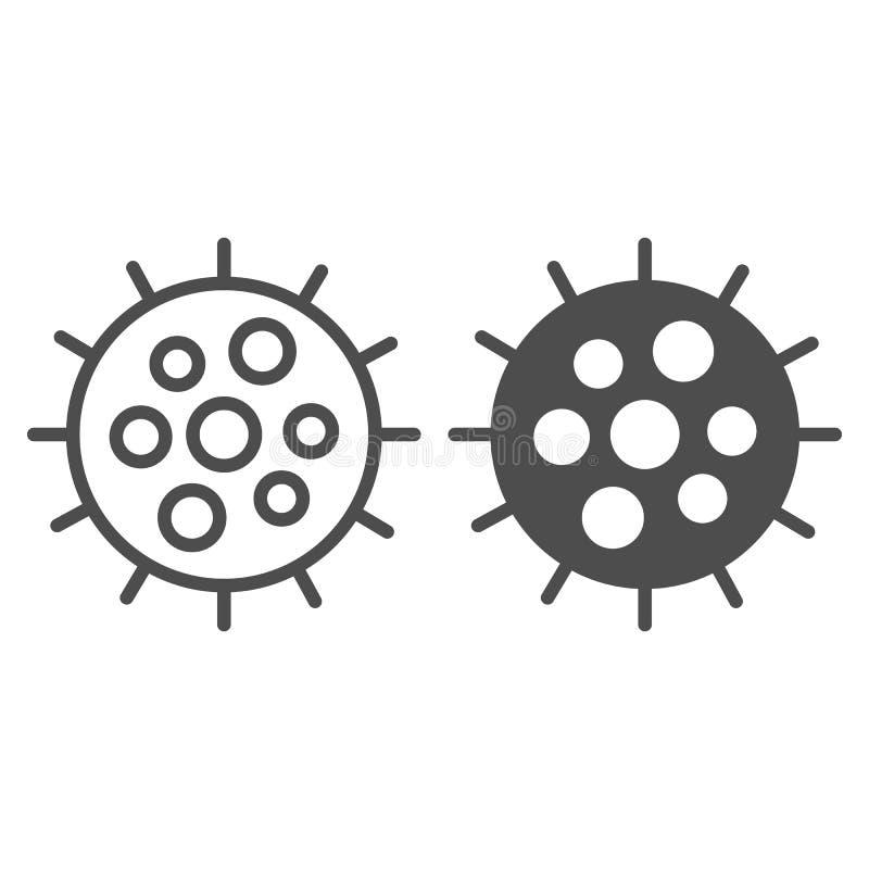 Линия планктона и значок глифа Иллюстрация вектора Clam изолированная на белизне Дизайн стиля плана криля, конструированный для с иллюстрация вектора