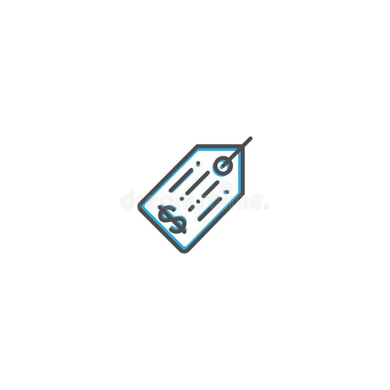 Линия дизайн значка ценника Иллюстрация вектора значка дела иллюстрация вектора