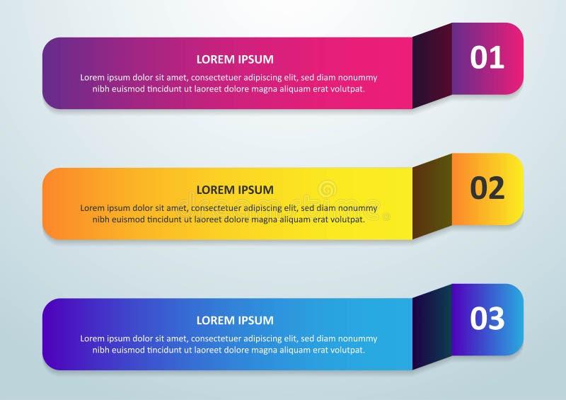 Линия дизайн Infographic вектора тонкая со значками и 3 вариантами или шагами Infographics для концепции дела смогите быть исполь иллюстрация штока