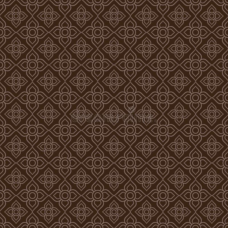 линия тайская Предпосылка тайской картины стиля безшовная, иллюстрация вектора бесплатная иллюстрация
