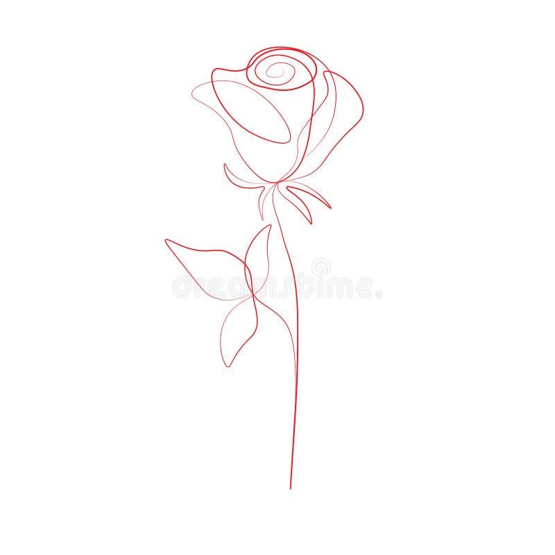 Линия чертеж печати одного подняла цветок, иллюстрация вектора иллюстрация штока