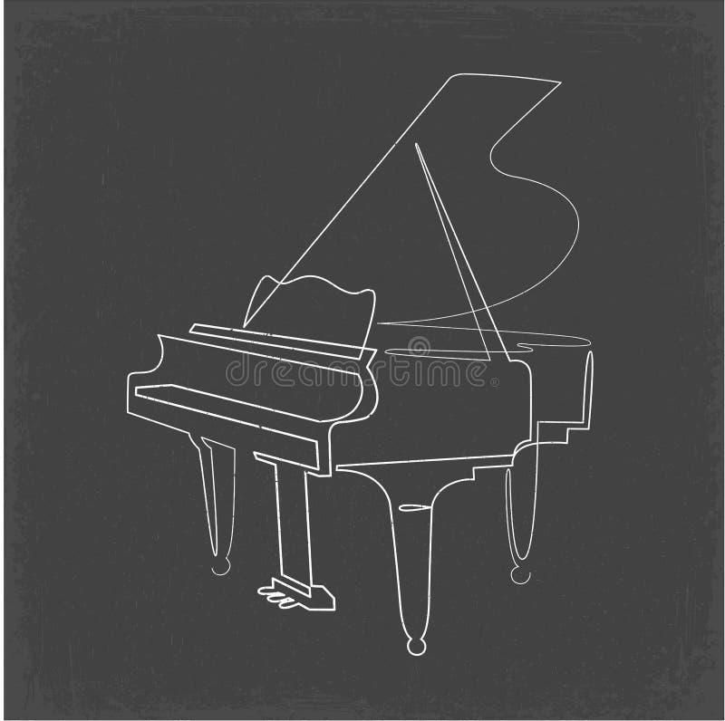 Линия чертеж рояля непрерывная одна вектора pianoforte бесплатная иллюстрация