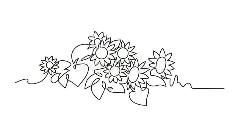 Линия чертеж солнцецветов непрерывная одна вектора иллюстрация штока