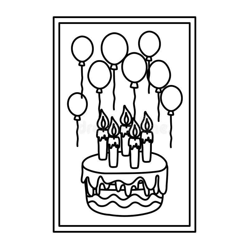 Линия рамка с днем рождения свечей и воздушных шаров торта иллюстрация штока