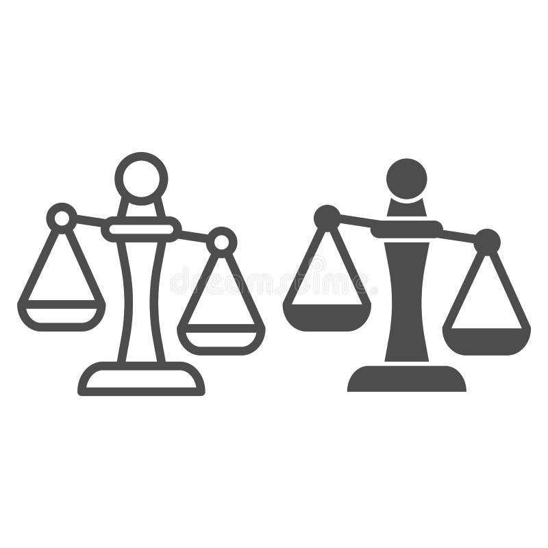 Линия Libra и значок глифа Иллюстрация вектора масштабов изолированная на белизне Дизайн стиля плана веса, конструированный для с иллюстрация вектора