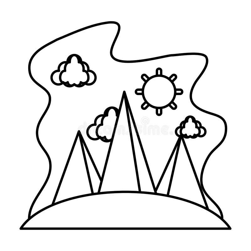 Линия облака природы с солнцем и ландшафтом гор бесплатная иллюстрация