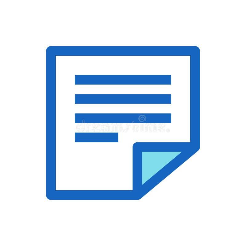 Липкие примечания, памятка заполненная линия цвет значка голубой иллюстрация вектора