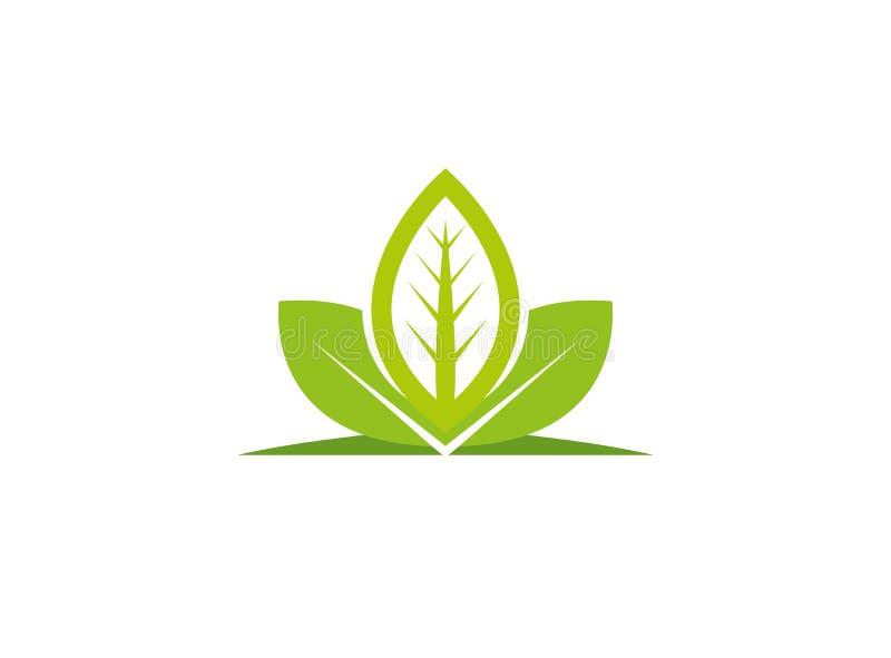 Листья засаживают для иллюстрации дизайна логотипа, значка природы иллюстрация вектора