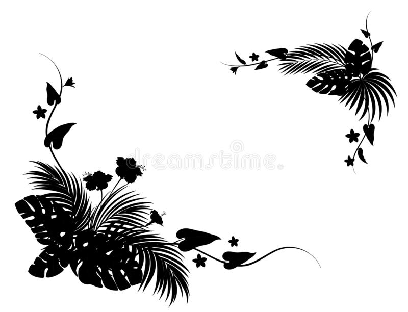 Tropical flowers and palm leaves. Corner frame ornaments. Black silhouette stock illustration