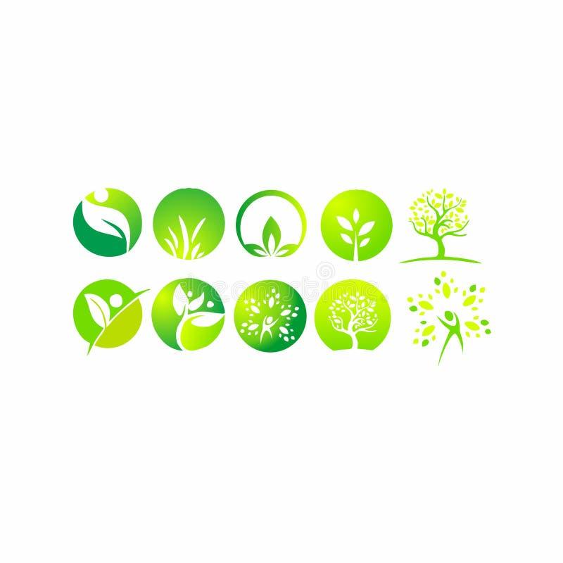 Лист, логотип, органический, здоровье, люди, завод, экологичность, набор значка дизайна природы иллюстрация штока