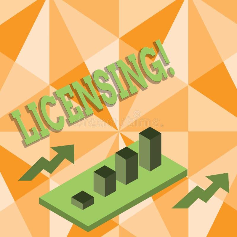 Лицензировать текста сочинительства слова Концепция дела для Grant лицензия законно позволить пользу что-то позволяет деятельност иллюстрация штока