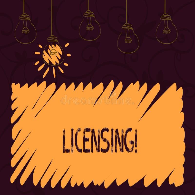 Лицензировать текста сочинительства слова Концепция дела для Grant лицензия законно позволить пользу что-то позволяет деятельност иллюстрация вектора