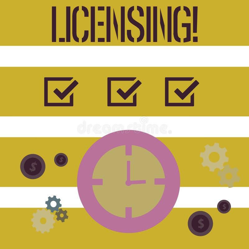 Лицензировать текста сочинительства слова Концепция дела для Grant лицензия законно позволить пользу что-то позволяет деятельност бесплатная иллюстрация