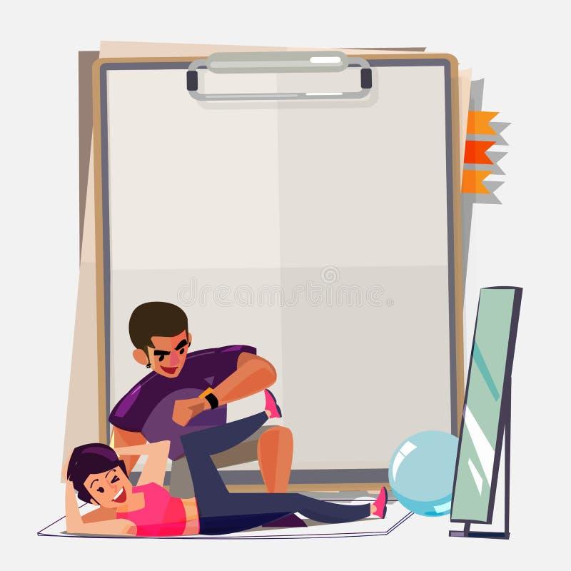 Личный тренер с женщиной - бесплатная иллюстрация