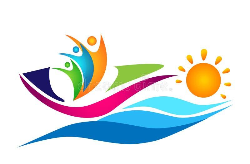 Людей воды моря волны солнца корабля шлюпки плавания команда-победителя работы элемент вектора значка логотипа соединения совмест иллюстрация вектора