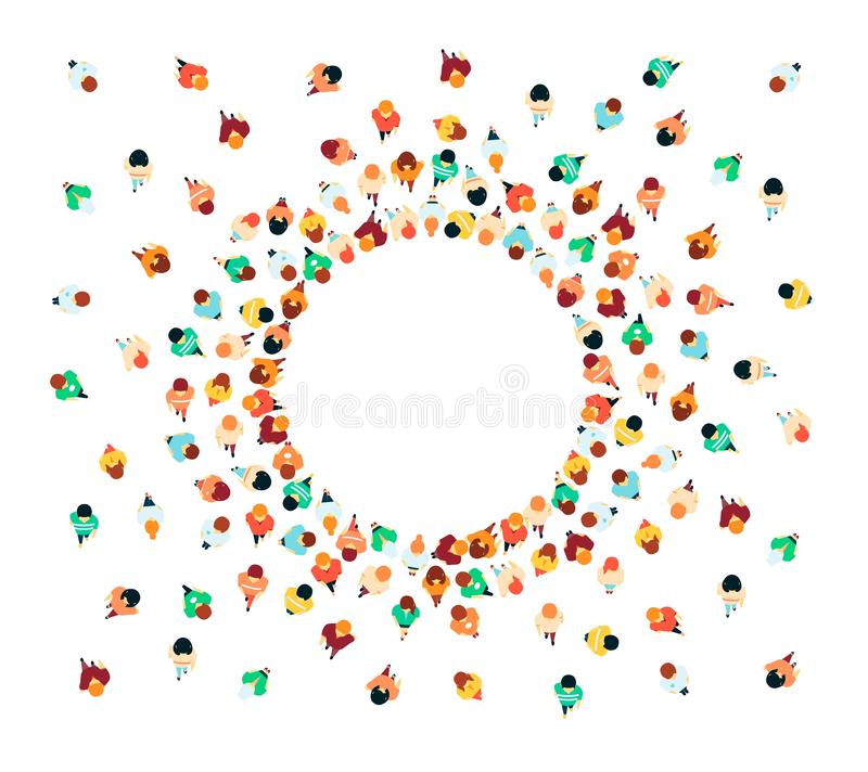 Люди вектора в наборе значка взгляда сверху толпы иллюстрация вектора