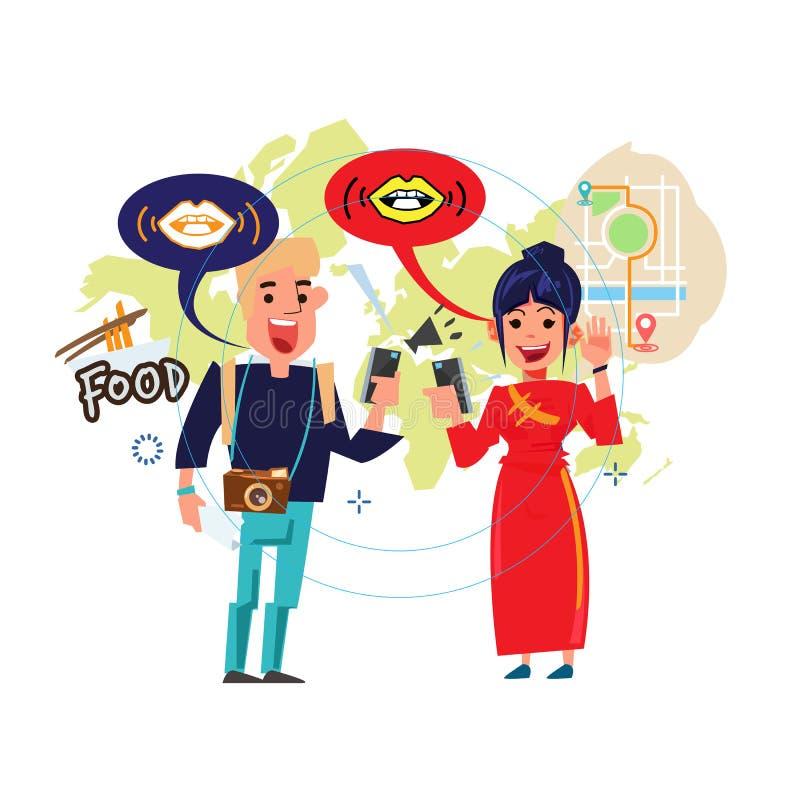 Люди говорят совместно и понимают переводом на мобильном телефоне - векторе иллюстрация штока