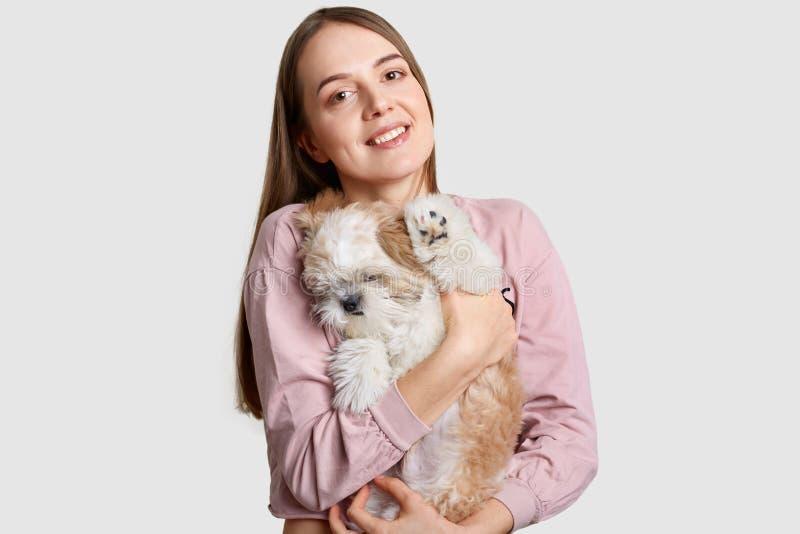 Люди, животное, концепция любов Жизнерадостная европейская женская модель носит небольшого сонного щенка в руках, играх и идти пи стоковое фото
