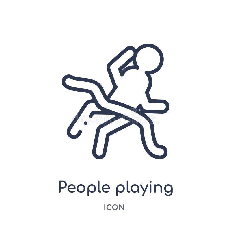 люди играя значок заточения от рекреационного собрания плана игр Тонкая линия люди играя значок заточения изолированный на белизн бесплатная иллюстрация