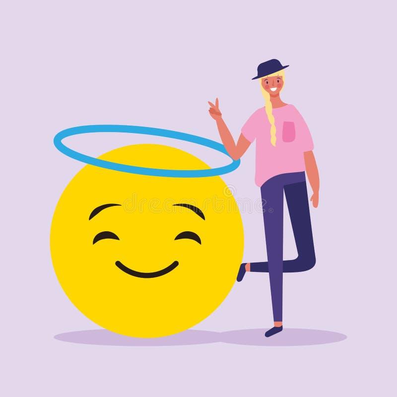 Люди и emojis иллюстрация вектора